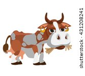 a well fed cow eats hay. vector ... | Shutterstock .eps vector #431208241