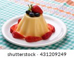 vanilla pudding on white plate... | Shutterstock . vector #431209249