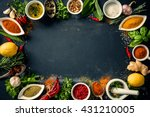 herbs and spices over black... | Shutterstock . vector #431210005