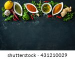 herbs and spices over black... | Shutterstock . vector #431210029