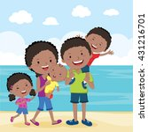 cheerful family summer vacation.... | Shutterstock .eps vector #431216701