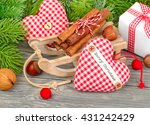 Christmas Textile Hearts And...