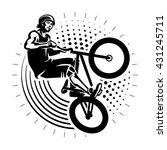 man jumping on bmx bike... | Shutterstock .eps vector #431245711