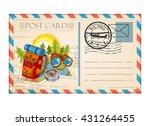 vintage postcard travel camping ... | Shutterstock .eps vector #431264455