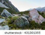 big stones are in mount cook... | Shutterstock . vector #431301355