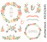 floral wreath collection | Shutterstock .eps vector #431312641