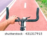 man riding sport bike top view... | Shutterstock . vector #431317915