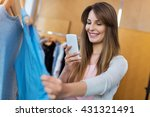 woman using mobile phone in... | Shutterstock . vector #431321491