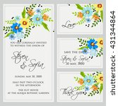 wedding card or invitation with ... | Shutterstock .eps vector #431344864