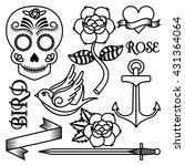 roses tattoo design  | Shutterstock .eps vector #431364064