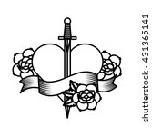 roses tattoo design  | Shutterstock .eps vector #431365141