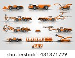 the set mine mining vehicles.... | Shutterstock .eps vector #431371729