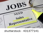 newspaper with ads for vacancy... | Shutterstock . vector #431377141