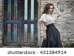 portrait of a girl model in a... | Shutterstock . vector #431384914