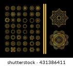 gold mandala on black... | Shutterstock .eps vector #431386411