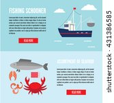 marine banners with seafood and ... | Shutterstock .eps vector #431386585