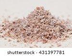 pile of grated ground nutmeg on ... | Shutterstock . vector #431397781