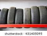 old car tires on rack. | Shutterstock . vector #431405095