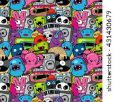 doodle musick pattern with... | Shutterstock .eps vector #431430679