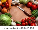fresh vegetables on a brown... | Shutterstock . vector #431451154