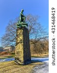 Small photo of Vigeland Niels Henrik Abel Monument in in the south-east corner of Slottsparken (the palace grounds), since then called Abelhaugen in Oslo, Norway.