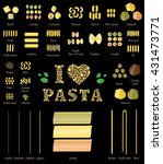 pasta set. a selection of... | Shutterstock .eps vector #431473771