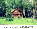 wooden house in the woods   Shutterstock . vector #431476621