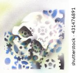 Small photo of Skull with gears in airbrush style.