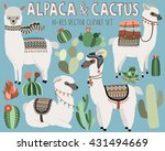 Cute Vector Llama And Cactus...