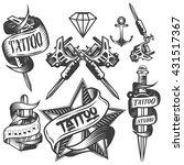 set of tattoo vector labels in... | Shutterstock . vector #431517367