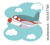Cartoon Plane In Blue Sky...