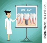 woman dentist showing a poster...   Shutterstock .eps vector #431541214
