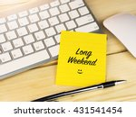 long weekend on sticky note on... | Shutterstock . vector #431541454