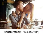 beautiful man and woman flirt... | Shutterstock . vector #431550784