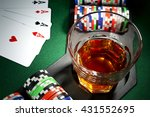 four aces  glass of whiskey and ... | Shutterstock . vector #431552695