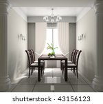 dining table against a window...   Shutterstock . vector #43156123