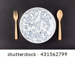 ceramic dish  plate  and wooden ... | Shutterstock . vector #431562799