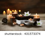 spa composition with candles on ... | Shutterstock . vector #431573374
