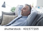 businessman at home resting and ... | Shutterstock . vector #431577205