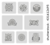 set of monochrome icons with... | Shutterstock .eps vector #431612695