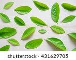 lemon  leaf with wood background | Shutterstock . vector #431629705