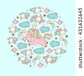 cute magic kawaii unicorn ... | Shutterstock .eps vector #431632645