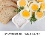 boiled eggs in a white dish on... | Shutterstock . vector #431643754