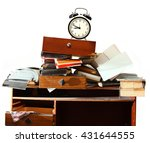 messy workplace with stack of... | Shutterstock . vector #431644555