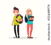 young couple students. vector... | Shutterstock .eps vector #431648974