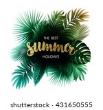 Stock vector summer tropical exotic leaves and branches composition with gold lettering 431650555