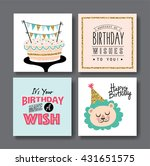 set of birthday greeting cards...   Shutterstock .eps vector #431651575