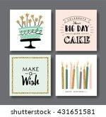 set of birthday greeting cards... | Shutterstock .eps vector #431651581