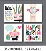 Set Of Birthday Greeting Cards...