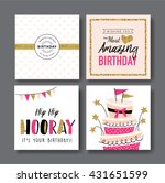 set of birthday greeting cards... | Shutterstock .eps vector #431651599